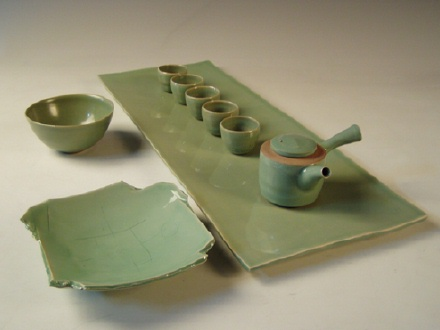 Korean celadon set with teapot and cups, bowl and plate