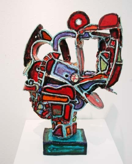 Hand-built, fired, gl;zed ceramic sculpture.