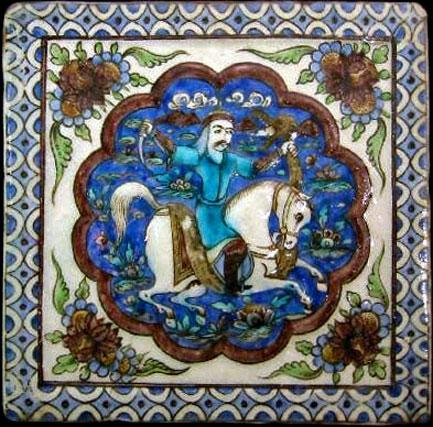 Ceramic-Tiles-Persian-Azulejos a warrior riding a horse