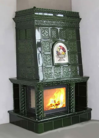 large green ceramic tiled wood heater