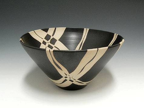Gustavo Perez contemporary bowl in black and white abstract patterns