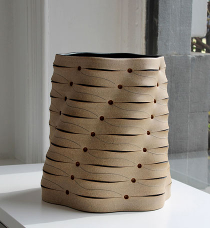 Gustavo Perez incised and folded geometric vessel