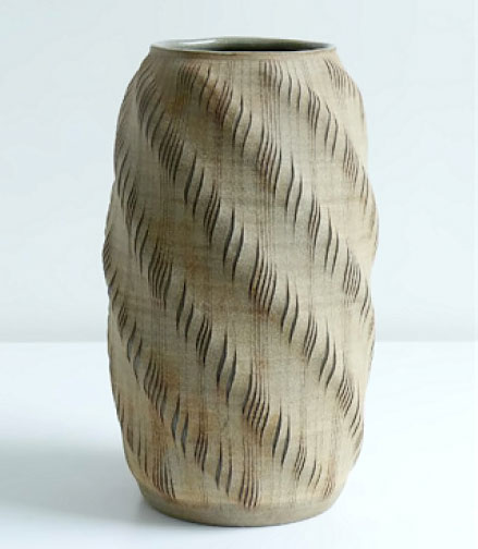 gustavo perez vase with vertical incisions