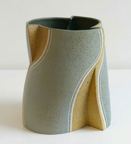 Gustavo Perez geometric vase elegant contemporary in mustard and sage green