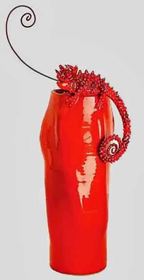 Mirta Morigi Italian red lizard vase