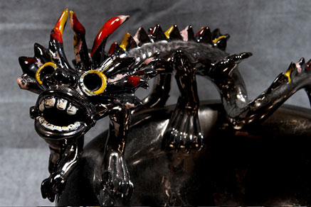 Morigi-black ceramic dragon figurine