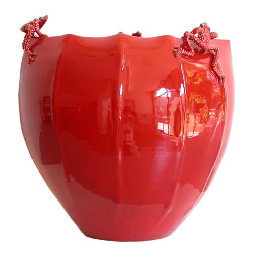 Morigi-red-multi faceted vessel
