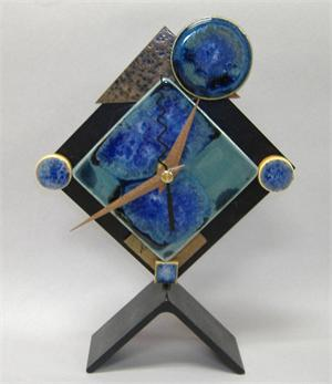 Clock with ceramic face Aqua Blue Burst Diamond Desk Clock by Mark's Studio