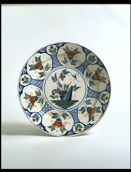 Tin-glazed earthenware, painted