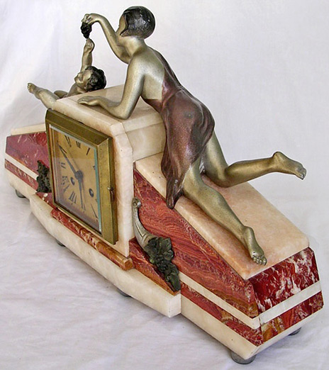Art Deco Red and White Marble mantle clock
