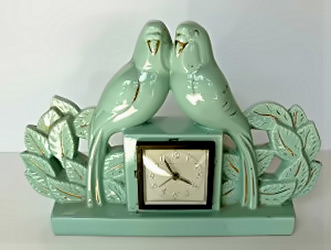 Art Deco Lemance clock with two green lovebirds