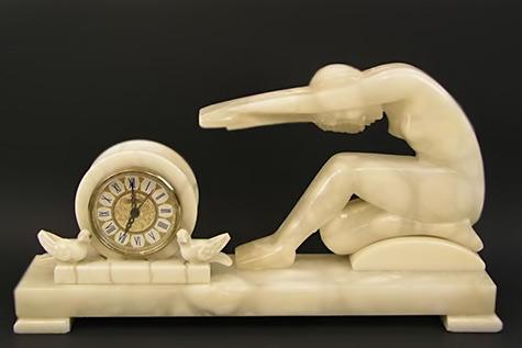Art deco sculpture clock maybe Joe Descomps-(1869-1950)