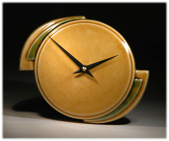 Art Deco Ceramic clock by Echo of Deco amber and green mantle