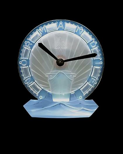 Rene Lalique sailing ship clock in blue glass