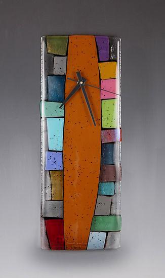 Totem Art Glass Clock by Nina-Cambron