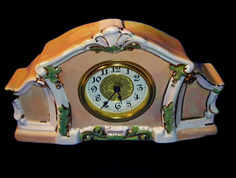 Vintage Holland Mold Porcelain Clock peach, white and green