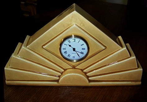 French art deco mantle clock gold colour