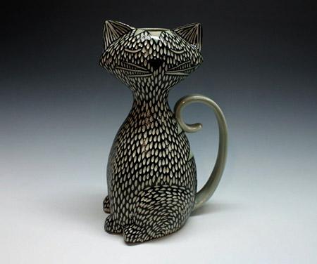 Shosona Snow ceramic sgraffito cat in black and white