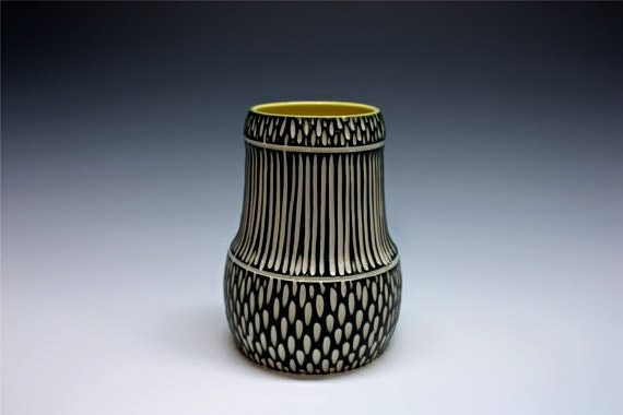 Modern Porcelain Vase black and white stripes - Shoshona Snow