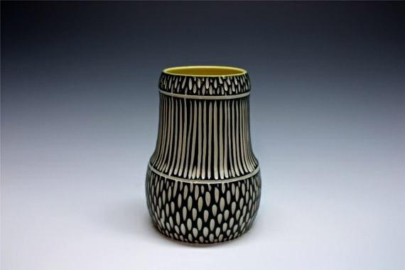 Modern Porcelain Vase black and white stripes - Shoshona Snow