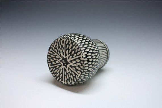 Shoshona-Snow black and white vertical striped sgraffito vase