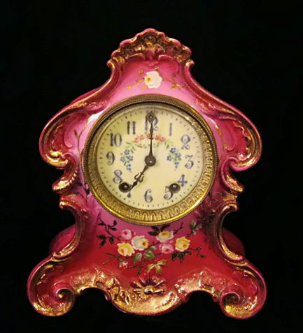 Deep pink rococo antique clock by Watbury