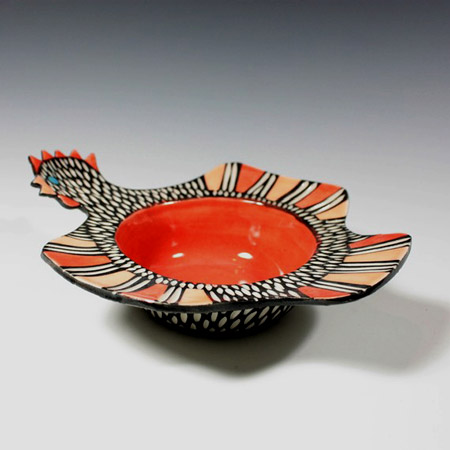 Ceramic Chicken Bowl in black and white sgraffito and red and orange by Shoshona Snow
