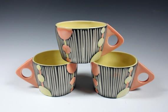 Shoshona Snow art deco style cups