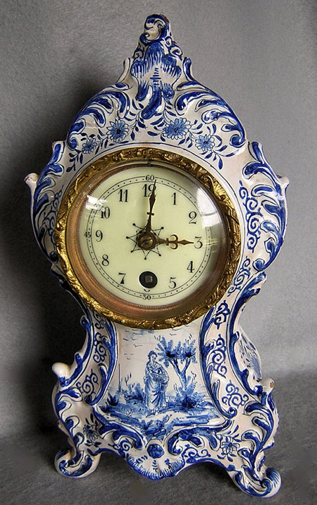 Rare Antique French Faience Majolica Clock blue and white