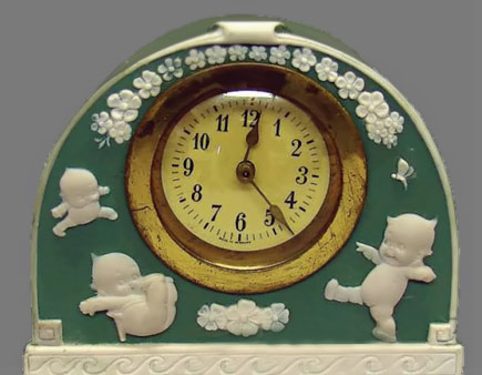 Porcelain Kewpie Clock - Rose O'neil - green and white facade