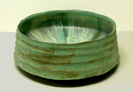 Jeff Mincham green Raku vessel