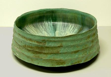 Jeff Mincham green Raku vessel