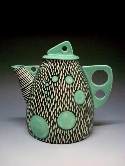 Shoshona Snow Teapot in green, black and white sgraffito