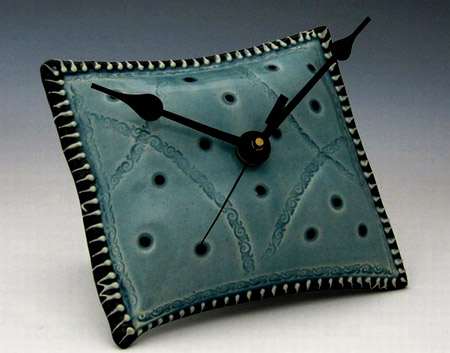 Green Pillow shaped ceramic clock by Creativewithclay