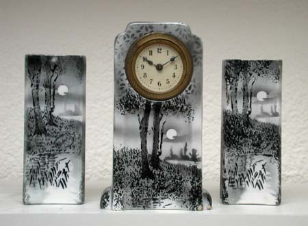 Wittenberg ceramic mantle clock with full moon night landscape