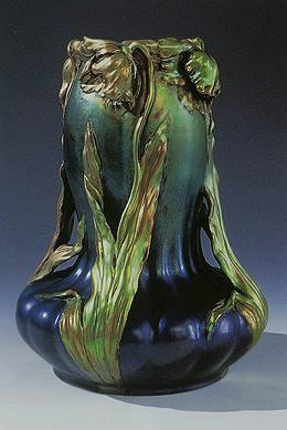 Zsolnay blue and green Art Nouveau vase with botanical relief decoration