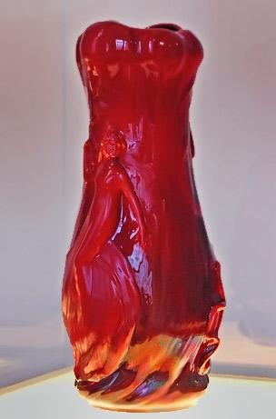 Rich red glaze vase by Zsolnay