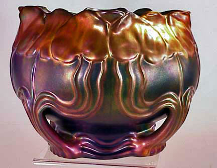 Zsolnay cache pot with iridescent glaze