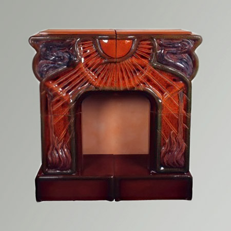 Art Nouveau Red Ceramic Fireplace