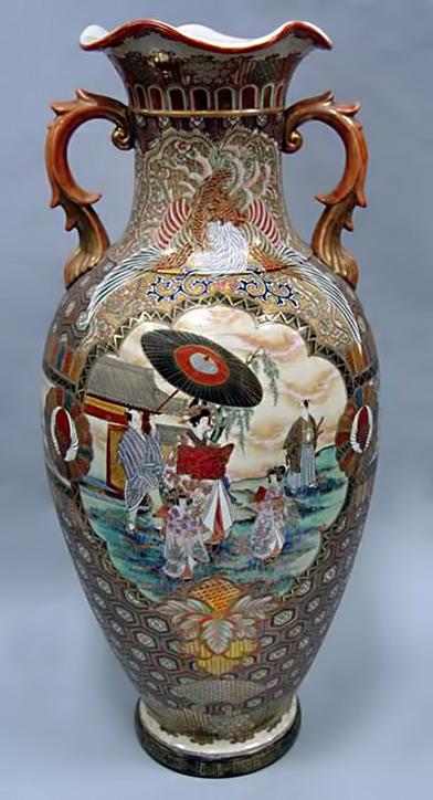 Satsuma twin handled vase