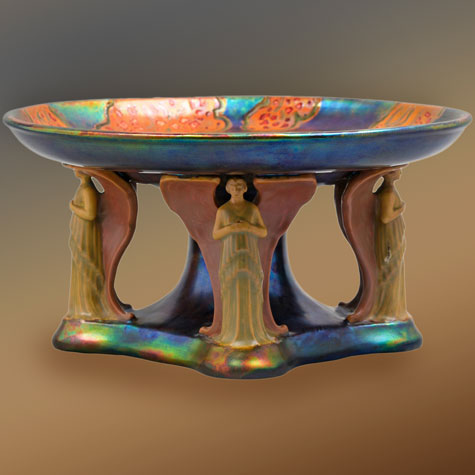 Hungarian-Ceramic-'Eosin-Glazed'-Centerpiece,-Zsolnay,-circa-1906