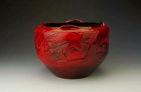 Red glaze vessel by Zsolnay