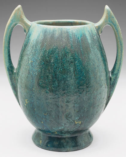 Art Deco Pierrefonds vase, covered in a green and blue crystalline glaze