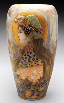 Amphora vase, designed by Nikolaus Kannh with art nouveau female motif