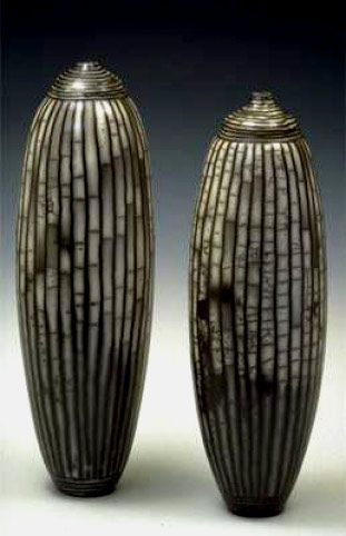 Tall Vessels With Lines David Roberts   vertical striped ceramic raku