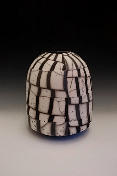 Fractured Landscape- raku pot by David Roberts