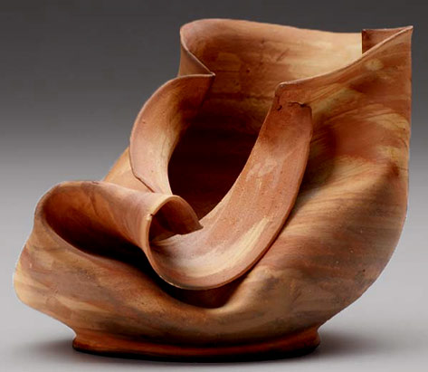 George Ohr folded ceramic Ssculptural vessel