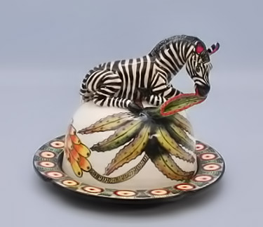Gift-Collection----Ardmore-Ceramic-Art-Zebra butter dish