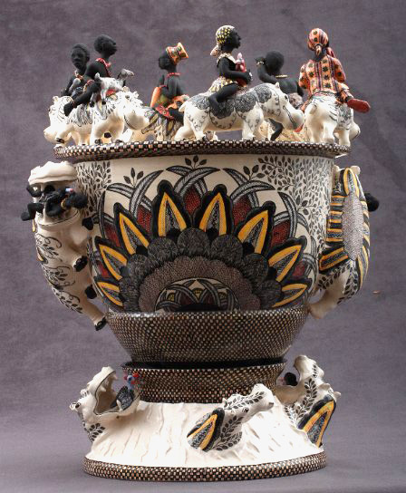 Hippo Vase Ardmore Pottery african-figures-riding-hippos on the top rim, with hippo handles and smaller hippo figures on the footed base