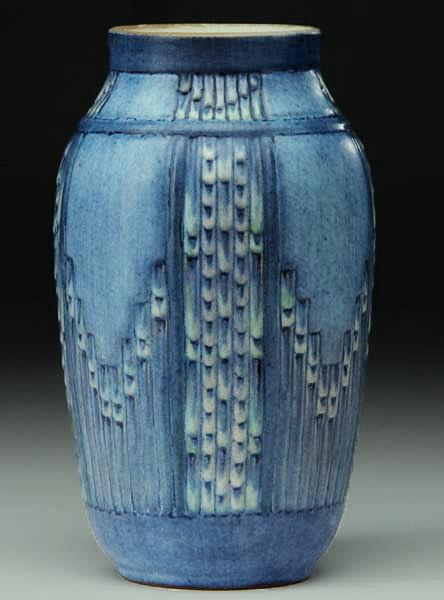 Blue Newcomb College vase with incised geometric pattern